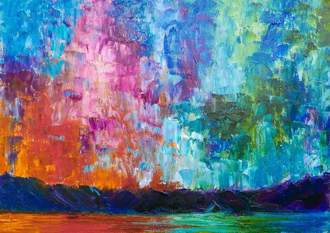 Яркая картина маслом, абстракция пейзаж