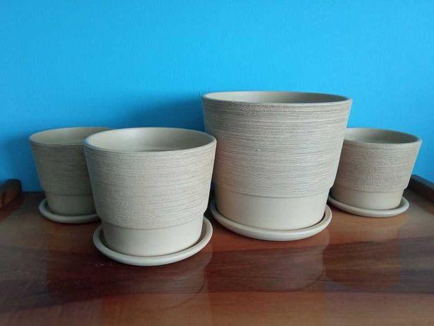 Doniczka doniczki ceramiczne zestaw 4 szt