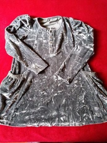 Sukienka pluszowa srebrzysto-szara