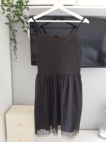 Czarna sukienka na ramiączkach tiul kropki rozm. S