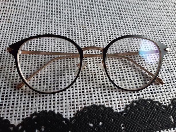 Solidne Oprawki okulary korekcyjne mat czarne złote Antyrefleks -0,75
