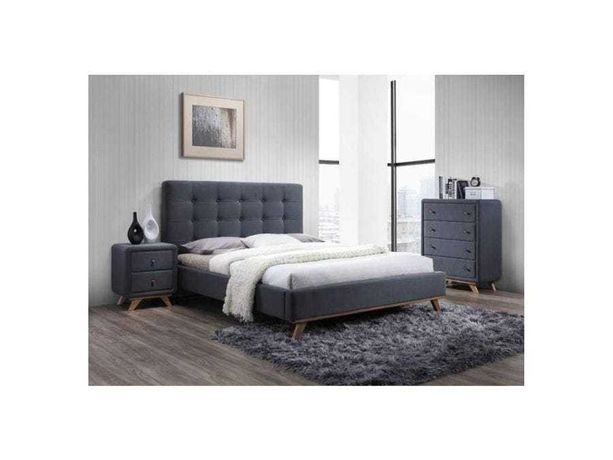 Łóżko MELISSA 160x200/ szare/ drewniane nogi/ stelaż SKLEP WAWA WESOŁA