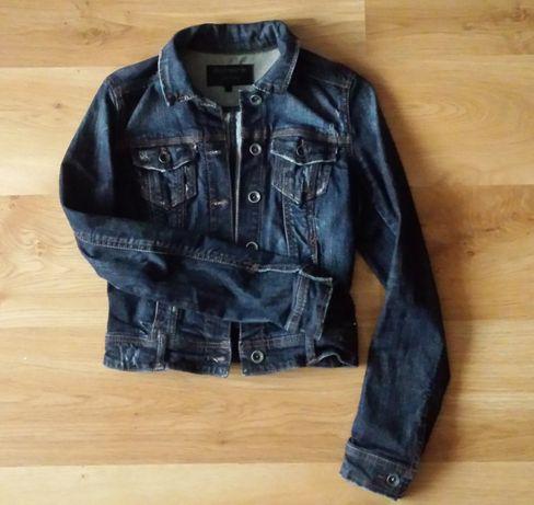 stradivarius granatowa katana kurtka jeansowa XS