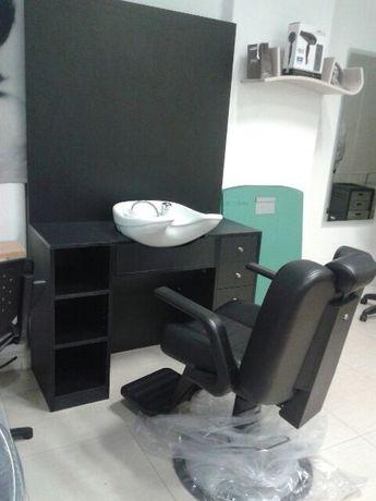 Bancada de Barbeiro com bacia lavagem - Promoção loja Online