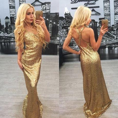 Золотое платье в пайетках макси