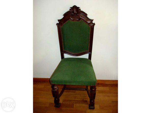 Cadeira mogno estilo clássico, estofos novos