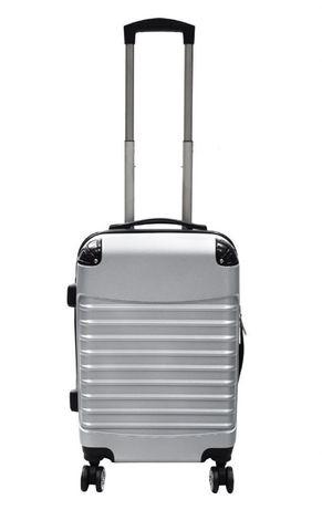 M1211 Solidna walizka podróżna na 4 kółkach srebrna ABS kabinowa M
