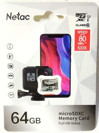 micro SD 64Гб Карта памяти Netac 64Gb microsd микро