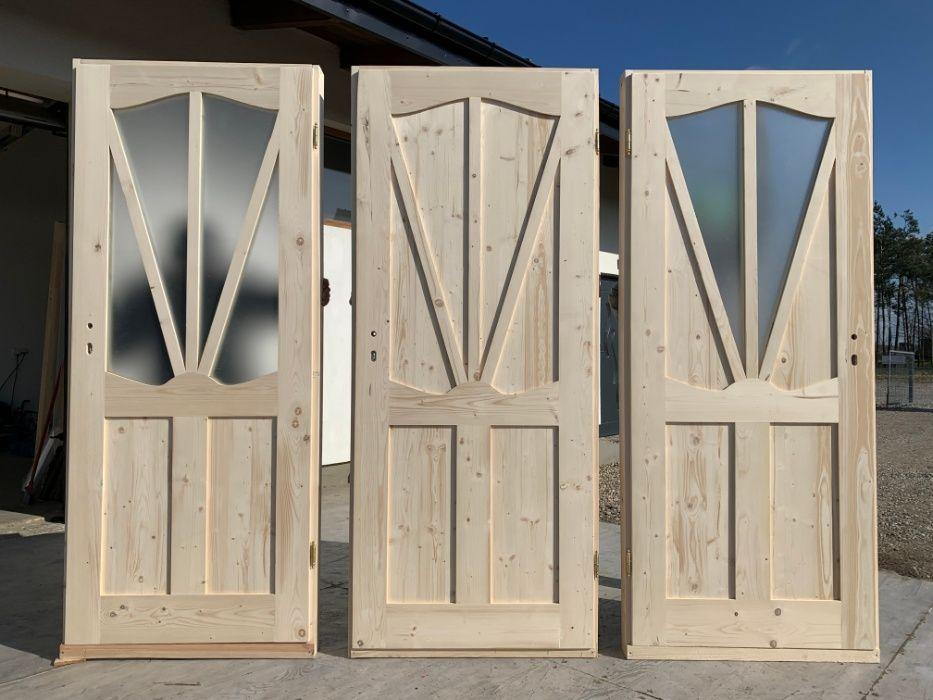 Drzwi LITE DREWNIANE wewnętrzne góralskie ŚWIERKOWE DW3