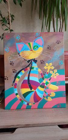 Красивая Картина акрилом 50 на 40, красочный кот, для интерьера.
