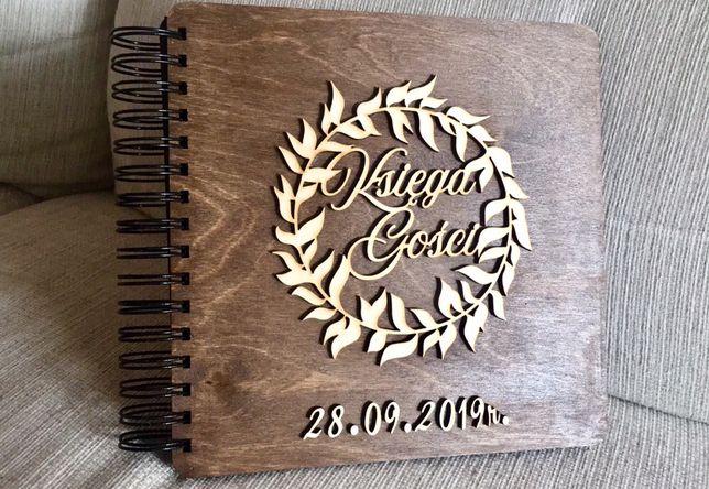 Drewniana księga gości styl rustykalny boho eko