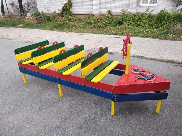 Деревянный корабль, паровоз, песочница для площадки, детского сада