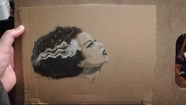 Noiva de Frankenstein desenho a pastel, caneta, grafite, tinta 24x18cm