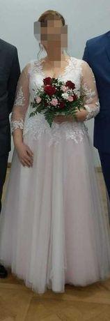 Suknia ślubna r. 44  pudrowy róż