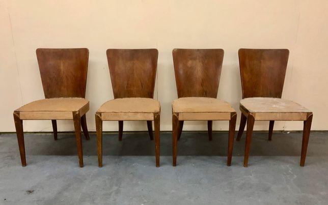 Komplet czterech krzeseł Halabala H-214, ART DECO, lata 30, design