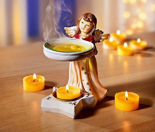 Anioł Aniołek porcelanowy świecznik, lampion, podgrzewacz