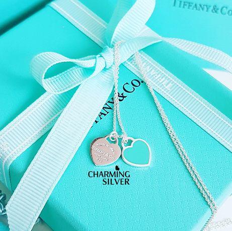 Серебряная двойная подвеска в форме сердца с голубой эмалью Tiffany