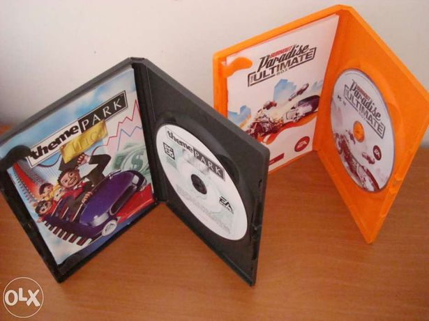 "Jogos para PC ""Theme Park Inc Classic"" e ""Burnout - Paradise..."""