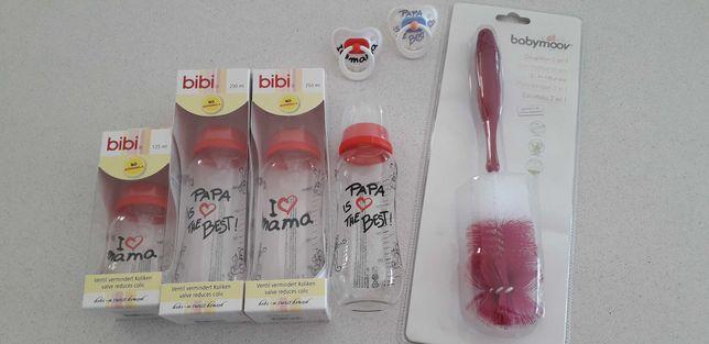 Conjunto biberões e chupetas Bibi + escova limpa biberões NOVOS