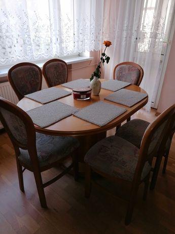 Okazja! Stół owalny + 6 krzeseł (olcha)