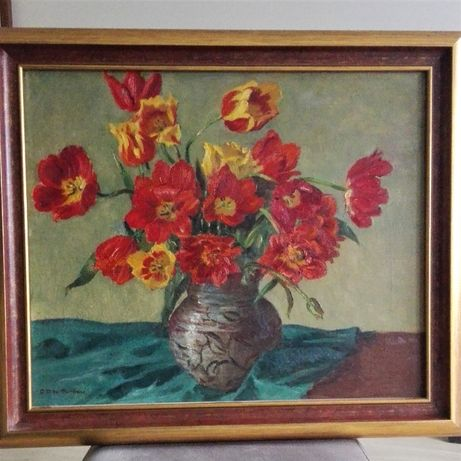 Stary obraz - kwiaty w wazonie, malarz aukcyjny, unikat