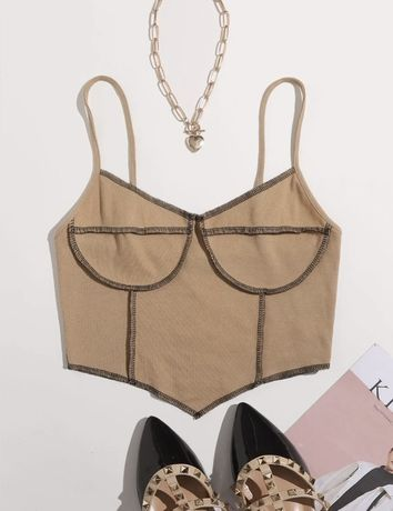 Top cropped marrom SHEIN