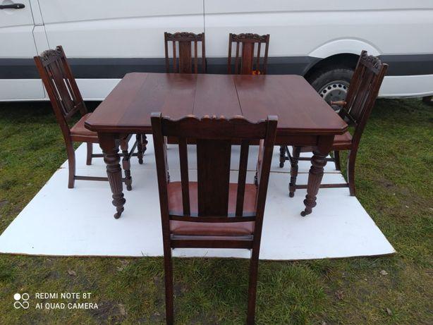 Stół+ 5 krzeseł.Antyk Angielski