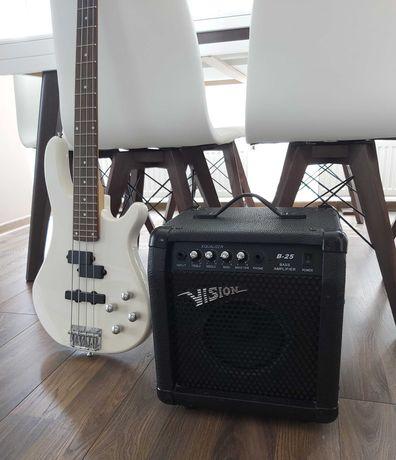 Gitara basowa VISION + wzmacniacz 30 W piecyk stan idealny