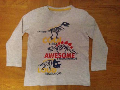 Bluzka chłopięca r.116 szara dinozaury