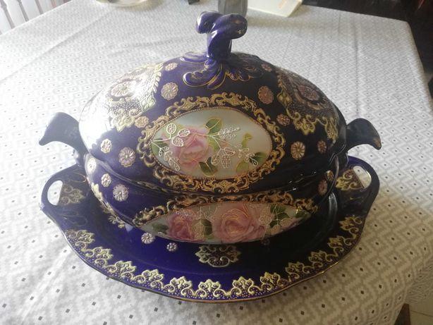 Terrina + castiçais porcelana