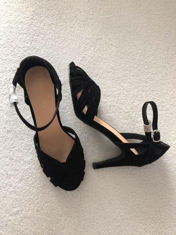 Klasyczne czarne sandałki na szpilce zalando