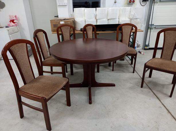Stół z krzesłami drewno