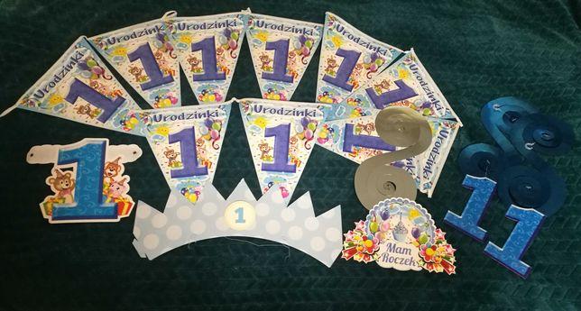 Dekoracje na roczek 1 urodziny proporczyki korona girlandy