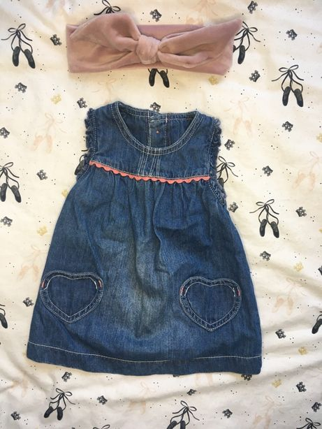 Dżinsowa sukieneczka / sarafanik 62 + gratis