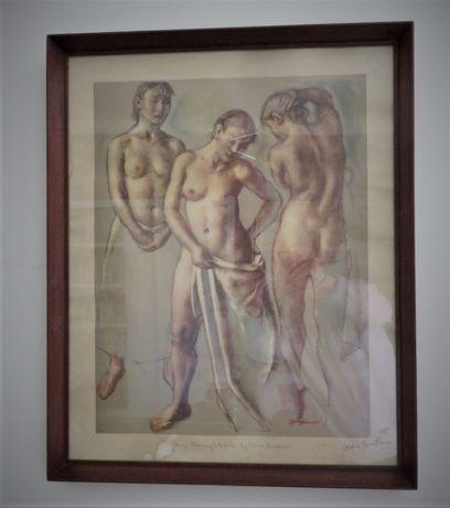 art deco litografia de Robert Brackman assinada pelo artista