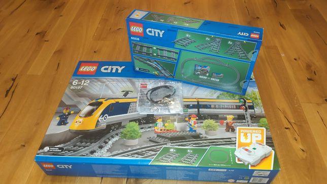 LEGO Pociąg pasażerski, tory, zwrotnice, 60197 + 60205 + 60238 + 88005