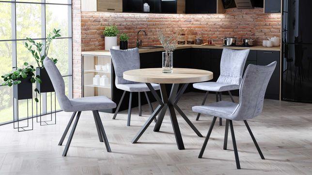 Stół okrągły, rozkładany, metalowe nogi