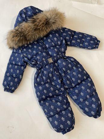 Зимний слитный детский комбинезон для мальчика Монклер Moncler енот