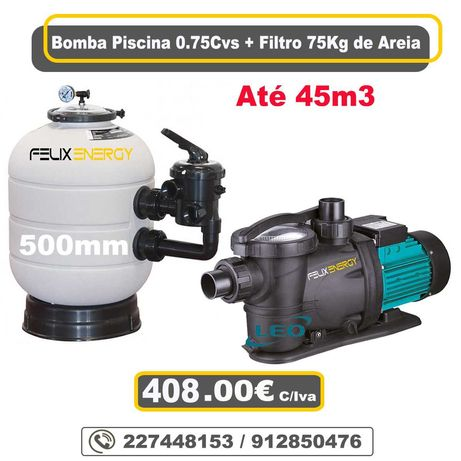 Bomba de Piscina 0.75cvs + Filtro 75Kg de Areia -- Piscinas até 45m3
