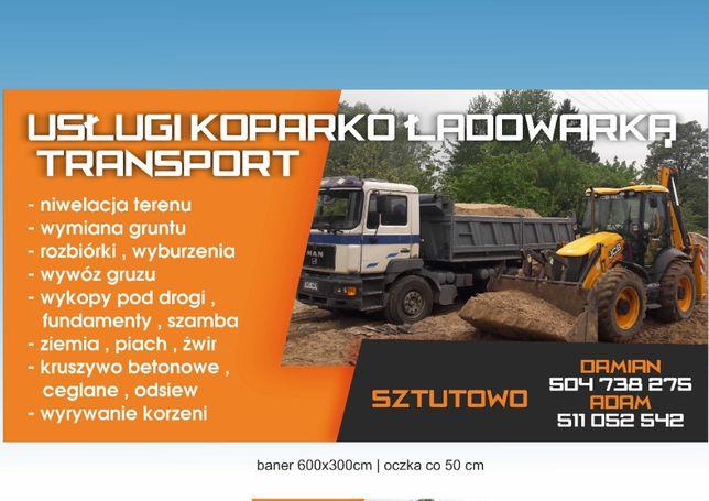 koparko-ładowarka transport, ziemia, piasek ,wymiana gruntu kontenerki