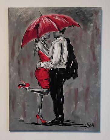 Obraz ZAKOCHANI 60 x 80 cm. Obraz ręcznie malowany na płótnie.