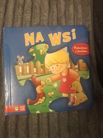 Książeczka książka zielona sowa na wsi maluszkowo z puzzlami