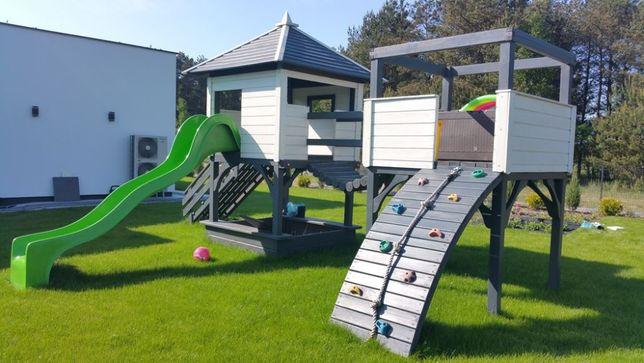 Plac Zabaw Drewniany Domek Dla Dzieci Zjeżdżalnia Huśtawka