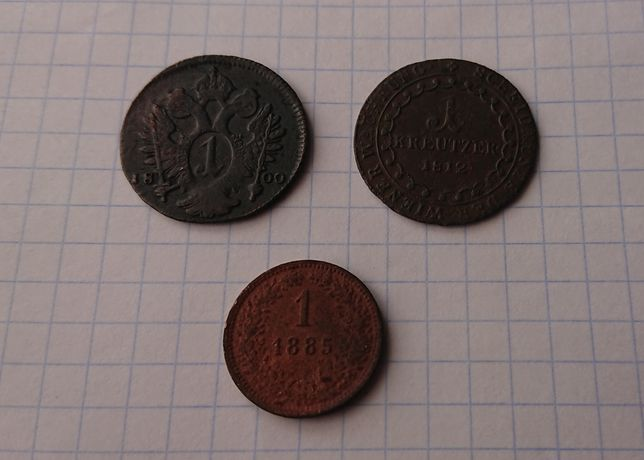1 крейцер kreutzer 3 шт монети мідь монета крона