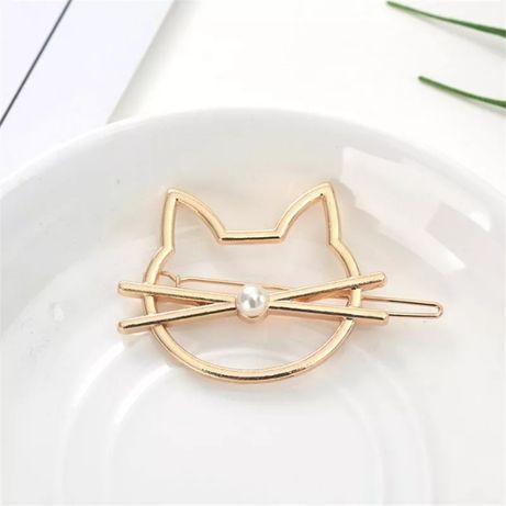 Spinka do włosów kot kotek głowa złoty