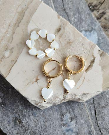 Kolczyki serca z masy perłowej perły pierscionek elastyczny perła