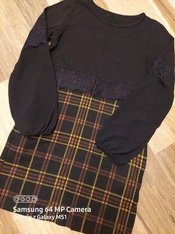 Vintage sukienka dzianinowa z łączonych materiałów S/M