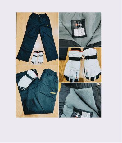 Conjunto de calças e luvas para uma ida à neve...