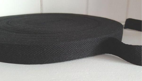 TAŚMA bawełniana 10mm CZARNA w jodełkę 50mb
