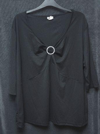 Czarna tunika wieczorowa, elegancka, duży rozmiar, rozm: 56/58